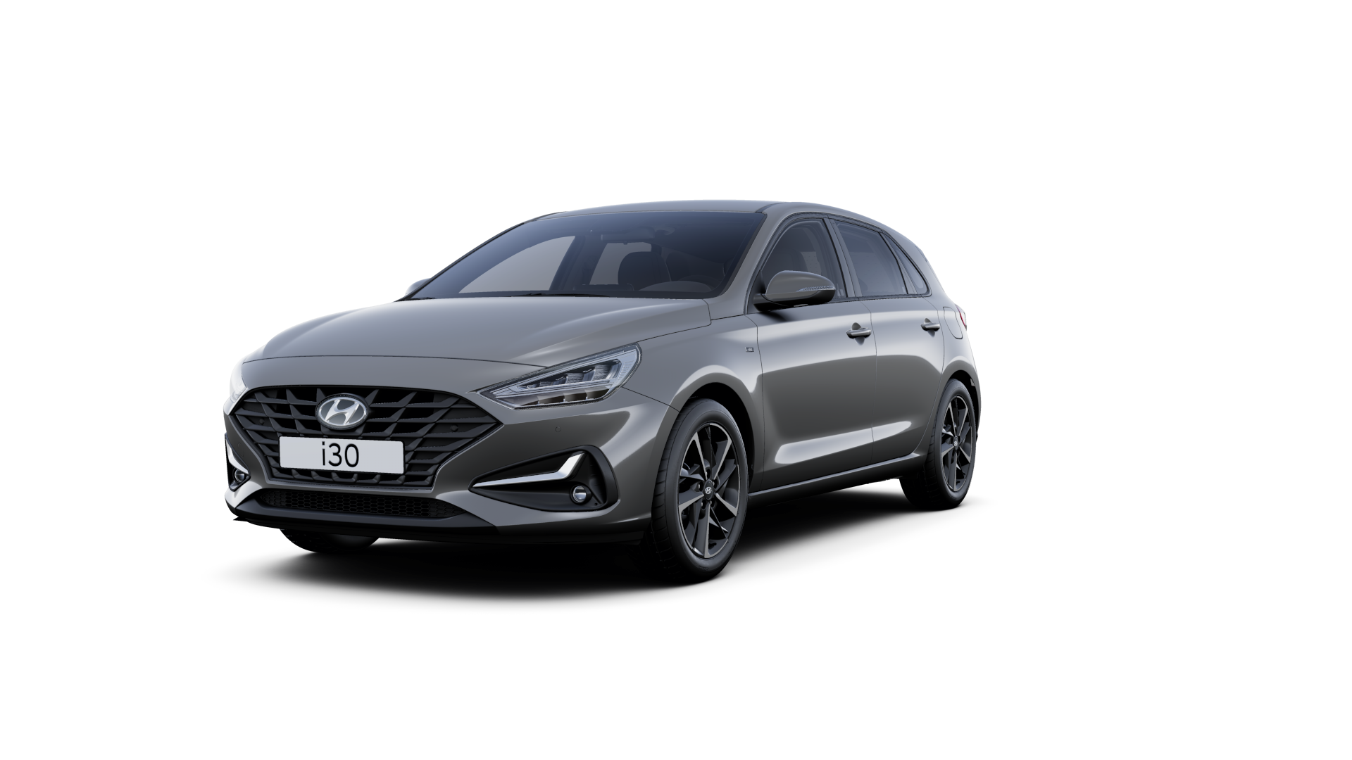 Front side view of the new Hyundai i30 in the colour Amazon Grey.