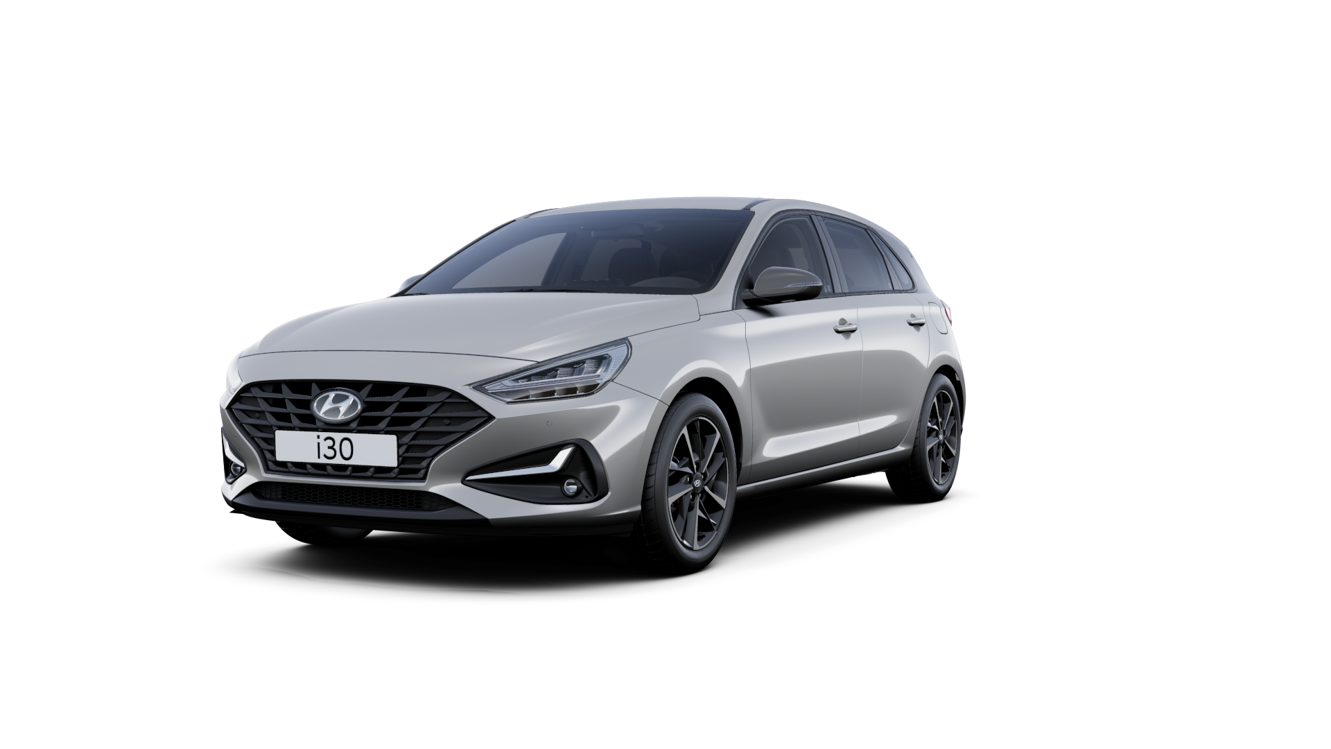 Front side view of the new Hyundai i30 in the colour Shimmering Silver.